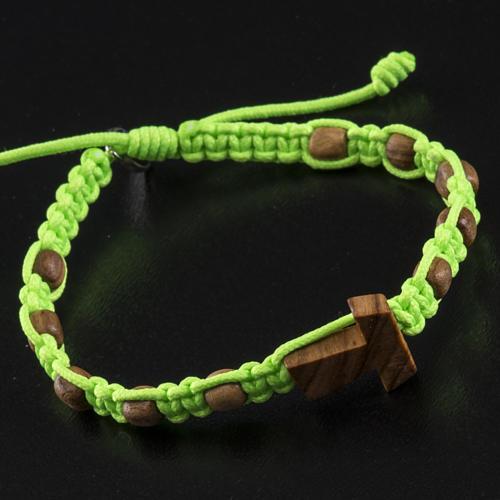 Medjugorje bracelet tau cross, olive wood grains and green cord 3