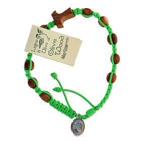Pulsera Medjugorje tau cuentas olivo cuerda verde s1