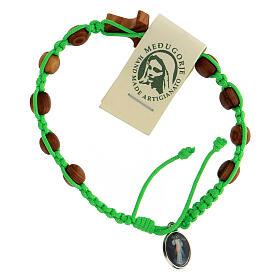 Pulsera Medjugorje tau cuentas olivo cuerda verde s2