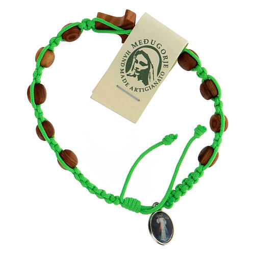 Pulsera Medjugorje tau cuentas olivo cuerda verde 2