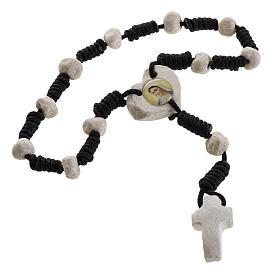 Medjugorje chaplet, stones, black cord, heart medal s2