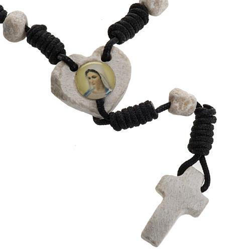 Medjugorje chaplet, stones, black cord, heart medal 1