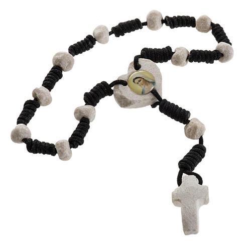 Medjugorje chaplet, stones, black cord, heart medal 2
