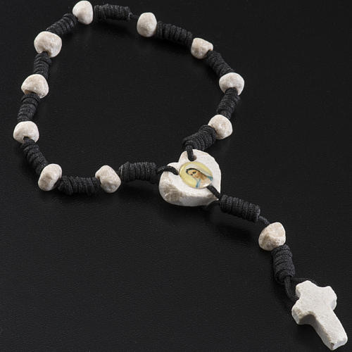 Medjugorje chaplet, stones, black cord, heart medal 3