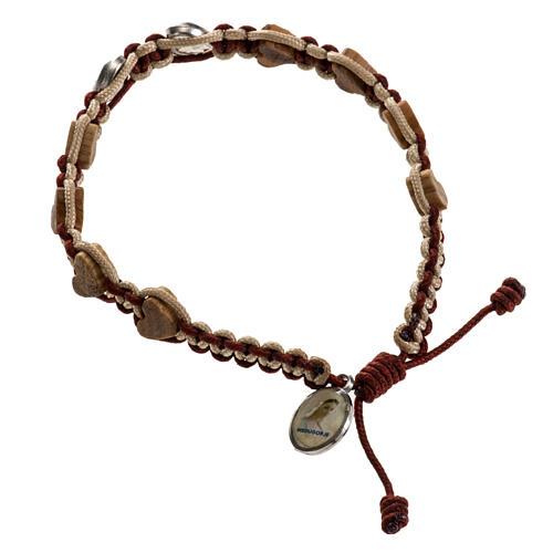 Bracciale Medjugorje olivo cuore corda 1
