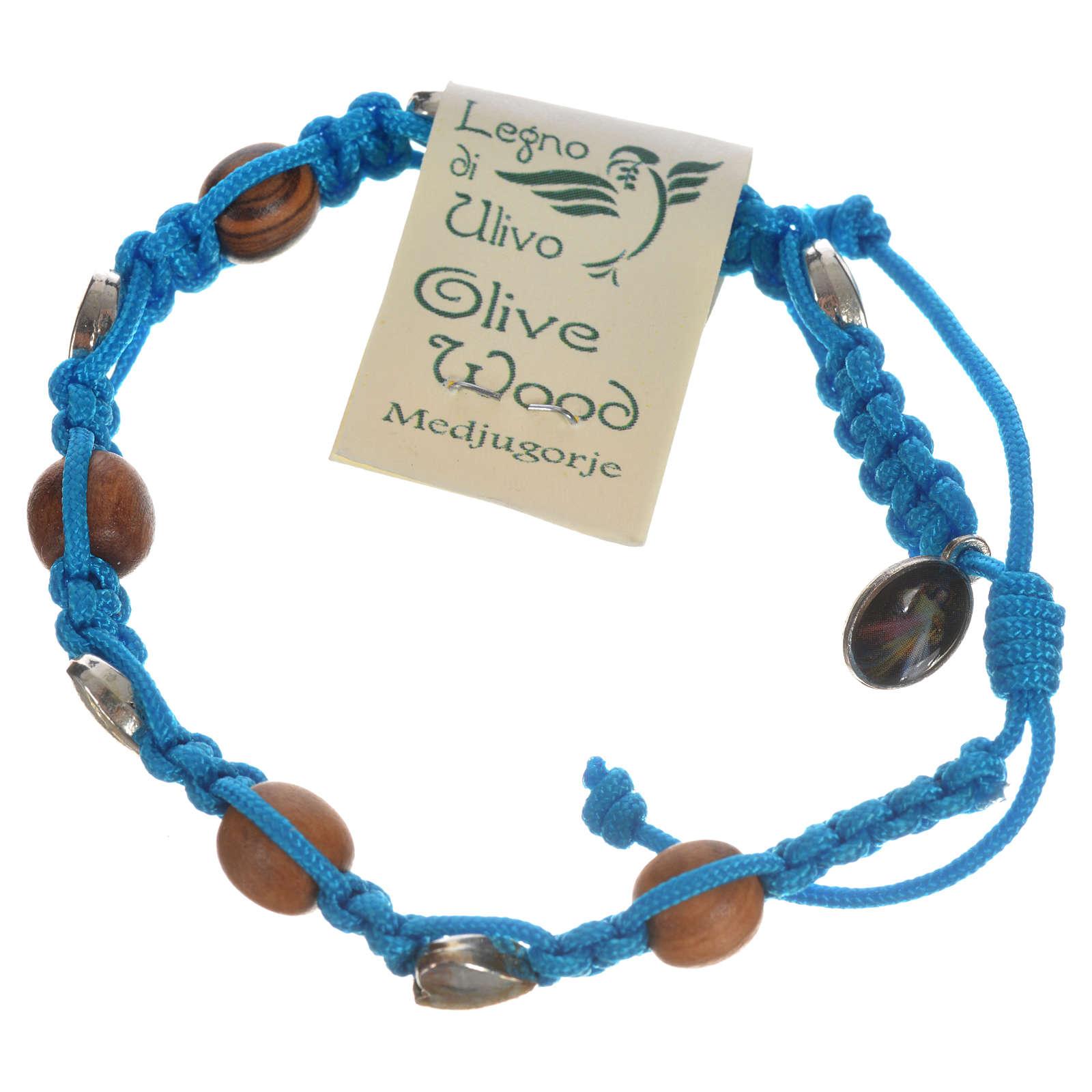 Pulsera Medjugorje olivo cuerda azul mar 4