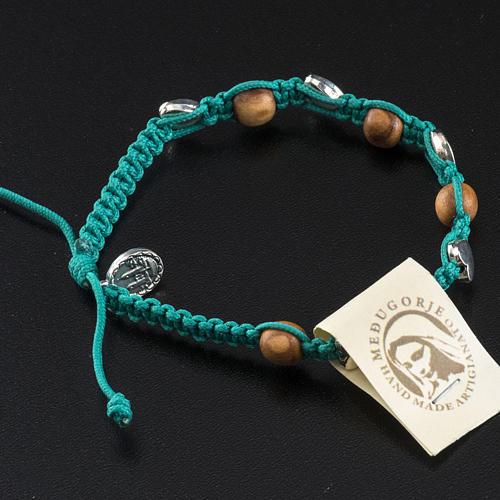 Pulsera Medjugorje olivo cuerda azul mar 3