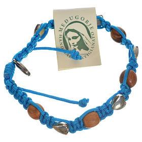 Bracelets, dizainiers: Bracelet Medjugorje bois d'olivier sur corde bleue