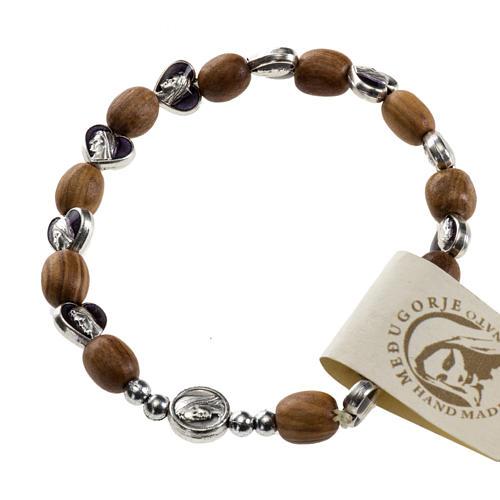Medjugorje elastic bracelet in olive wood 1