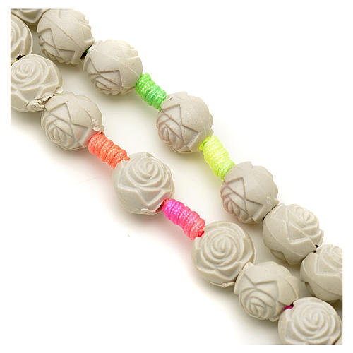 Medjugorje rosary with PVC roses and multicoloured cord 3