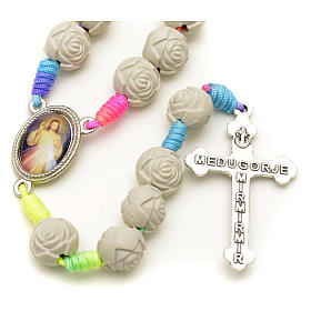 Medjugorje rosary with PVC roses and multicoloured cord s8
