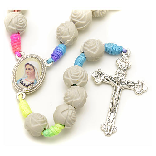 Medjugorje rosary with PVC roses and multicoloured cord 7