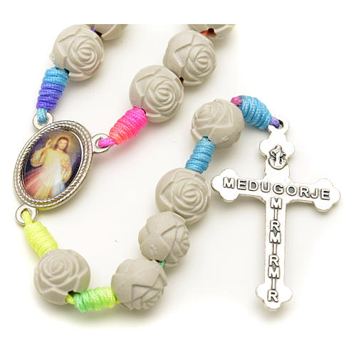 Medjugorje rosary with PVC roses and multicoloured cord 8