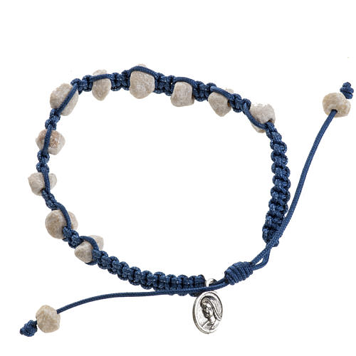 Medjugorje bracelet with stone and blue cord 1