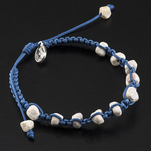 Medjugorje bracelet with stone and blue cord 2
