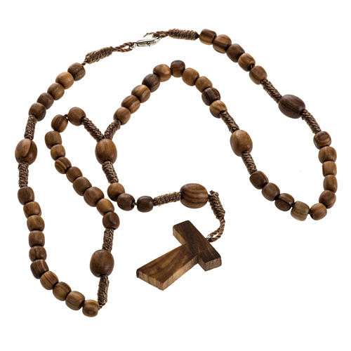 Medjugorje mini rosary in olive wood with Tau cross 2
