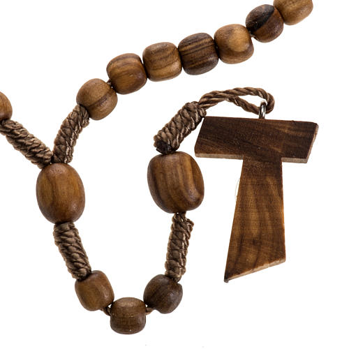 Medjugorje mini rosary in olive wood with Tau cross 1
