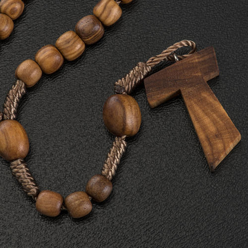 Medjugorje mini rosary in olive wood with Tau cross 3