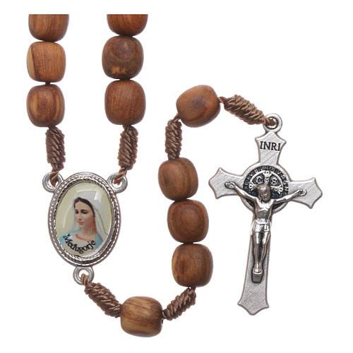 Chapelet bois d'olivier Medjugorje croix métal 1