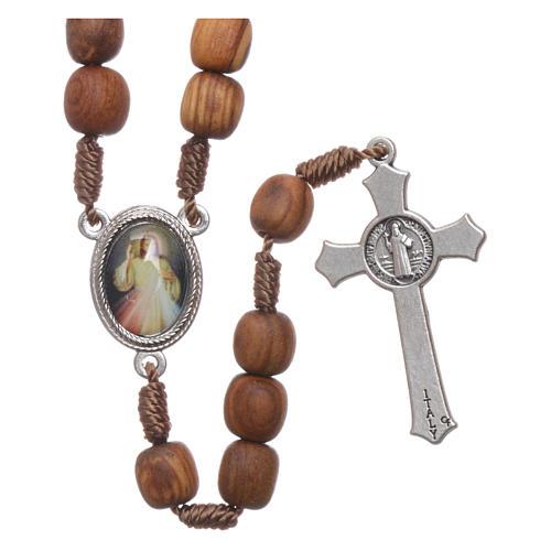Chapelet bois d'olivier Medjugorje croix métal 2