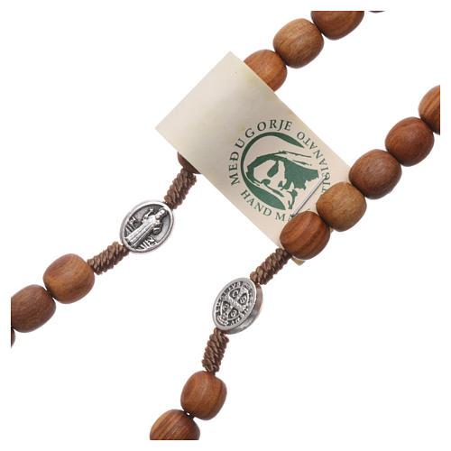 Chapelet bois d'olivier Medjugorje croix métal 3