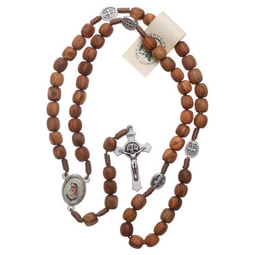 Chapelet bois d'olivier Medjugorje croix métal 4