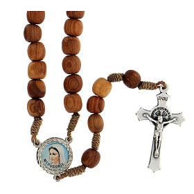 Różaniec drewno oliwne z Medjugorje krzyż metalowy s1
