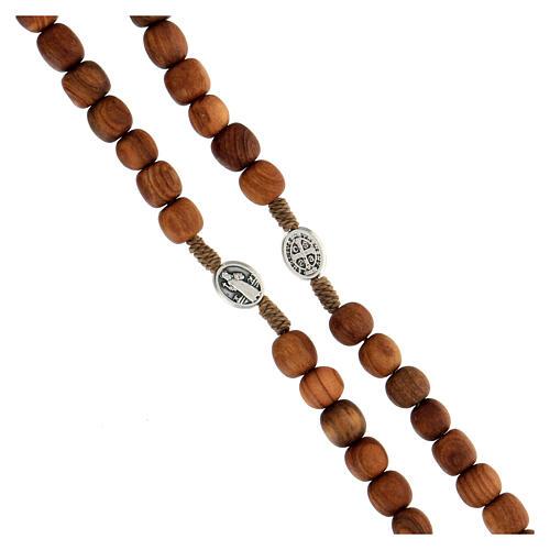 Różaniec drewno oliwne z Medjugorje krzyż metalowy 3