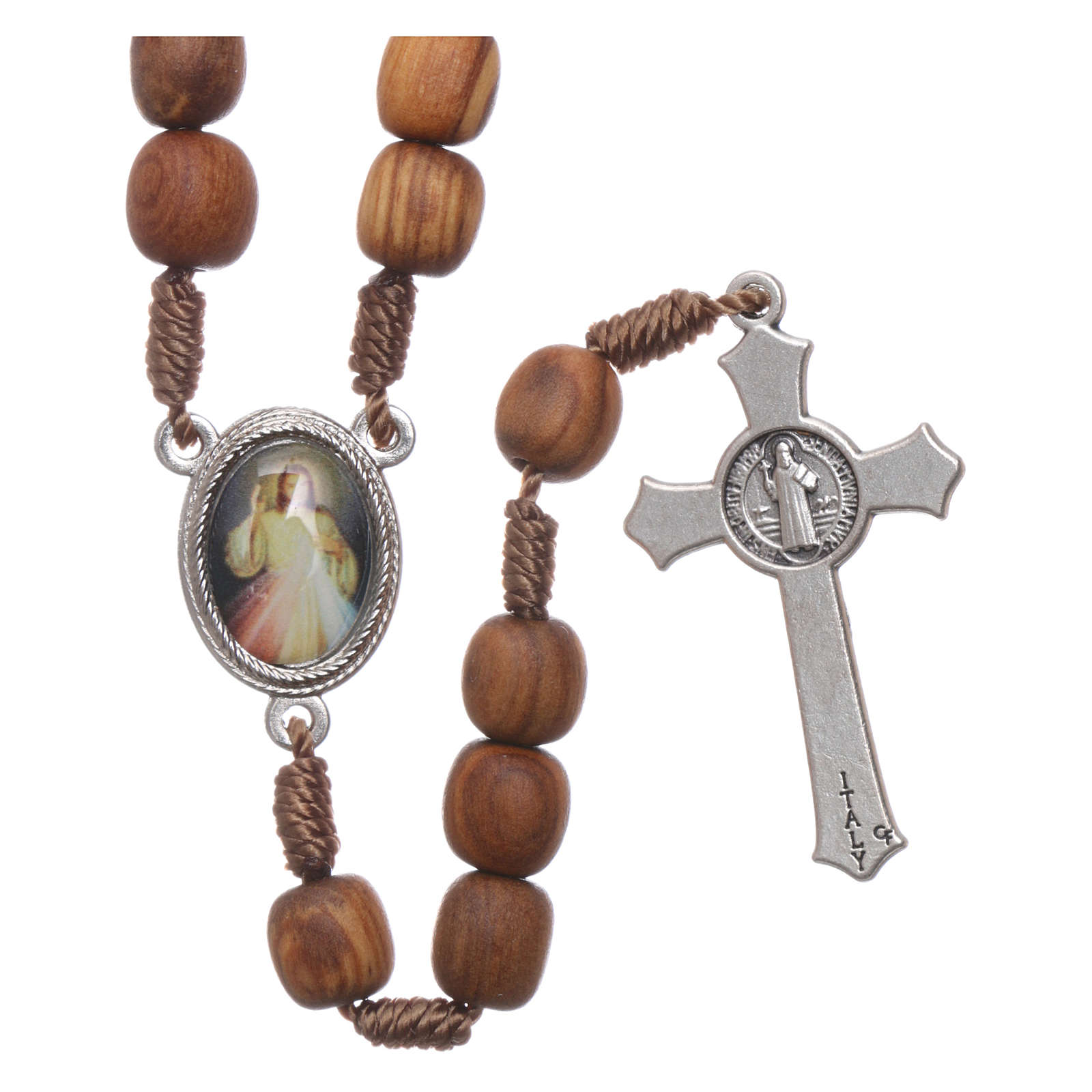 Medjugorje olive wood rosary with cross in metal 4