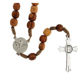 Medjugorje olive wood rosary with cross in metal s2