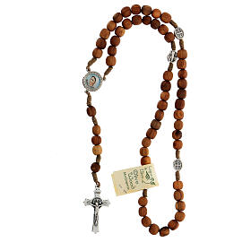 Medjugorje olive wood rosary with cross in metal s4