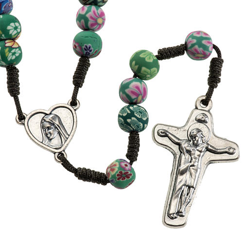 Medjugorje rosary beads in fimo with decoration 1