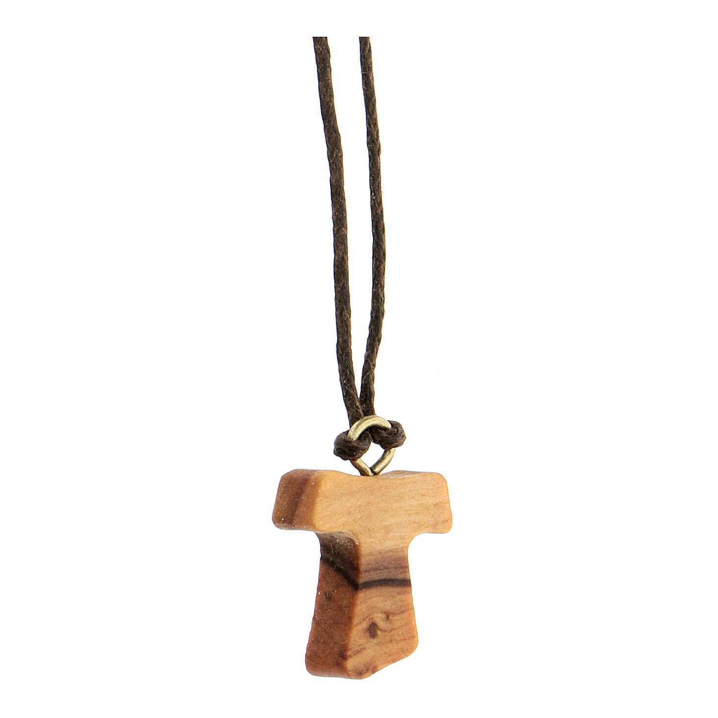 Medjugorje necklace in olive wood, Tau 4