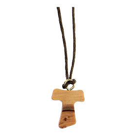 Medjugorje necklace in olive wood, Tau s1