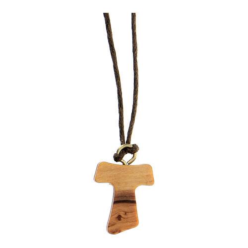 Medjugorje necklace in olive wood, Tau 1