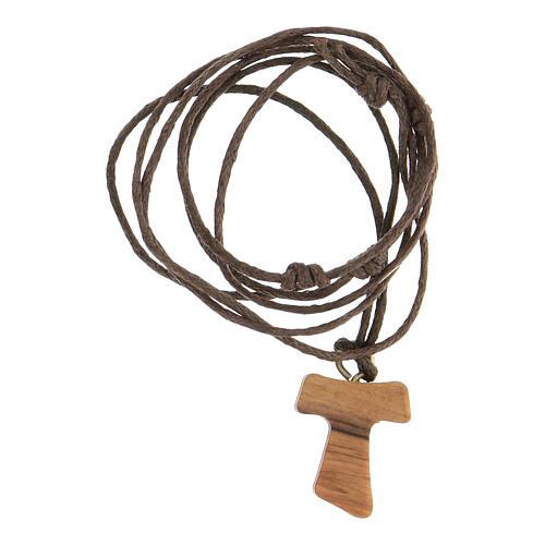 Medjugorje necklace in olive wood, Tau 3