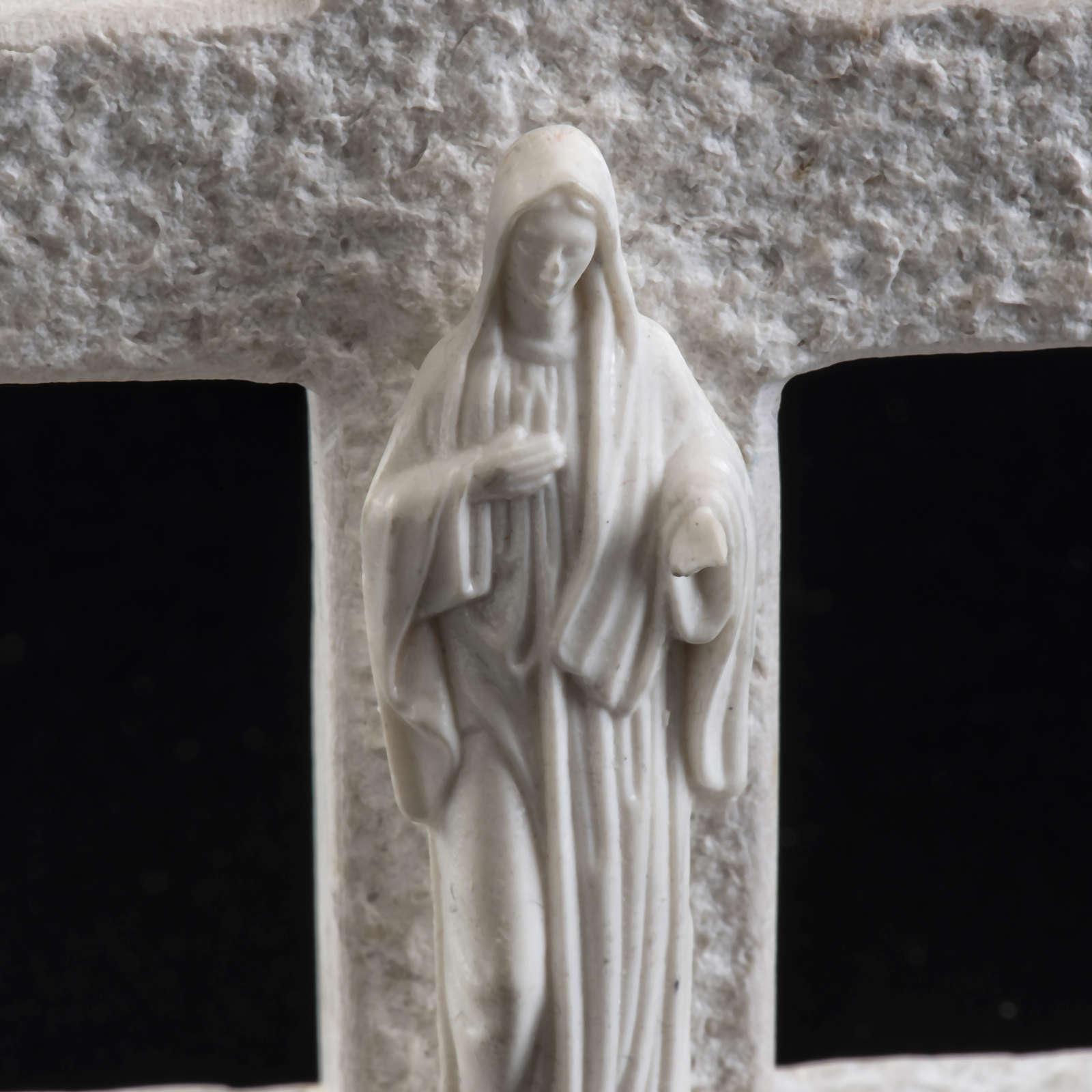 Croce Madonna di Medjugorje marmo bianco 4