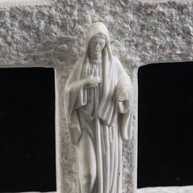 Croce Madonna di Medjugorje marmo bianco s4