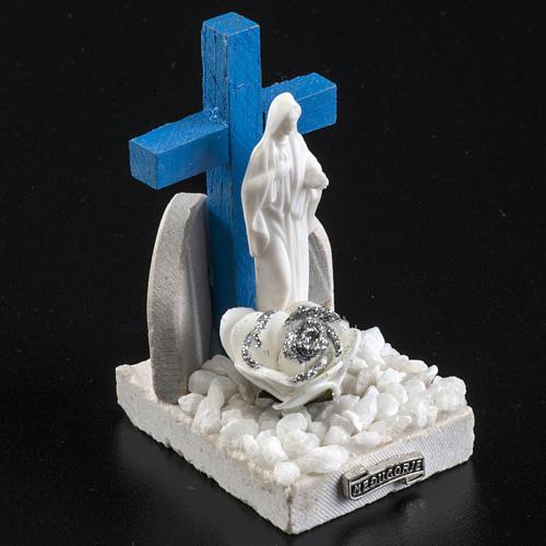 Croce blu Medjugorje base marmo 8,5x5 3