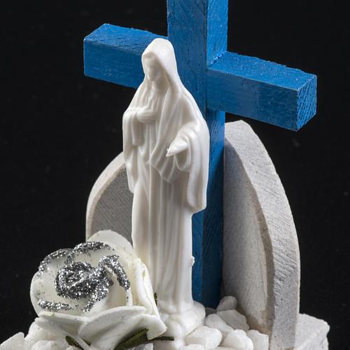 Croce blu Medjugorje base marmo 8,5x5 4