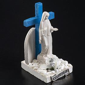 Croix bleue Medjugorje base marbre 12x6 s3
