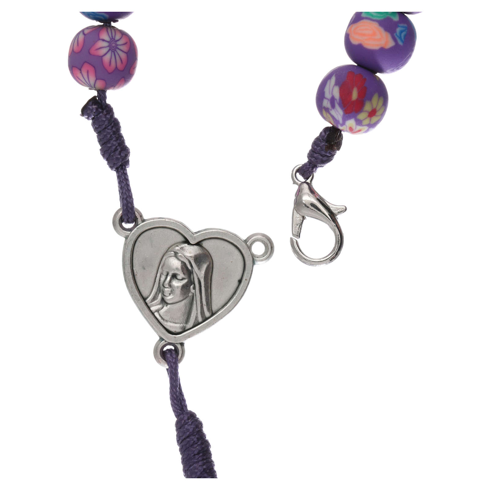 Rosenkranz Medjugorje Fimo Perlen violett 4
