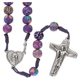 Medjugorje rosary in fimo, purple s1