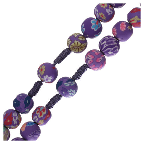 Medjugorje rosary in fimo, purple 3