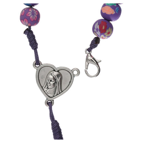 Medjugorje rosary in fimo, purple 4