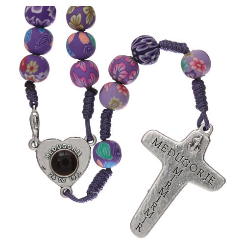 Medjugorje rosary in fimo, purple 2