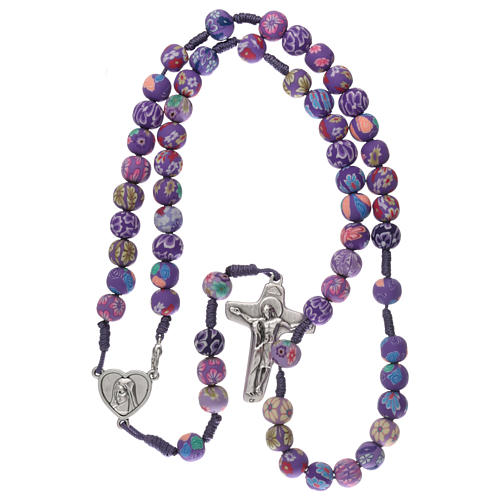 Medjugorje rosary in fimo, purple 5