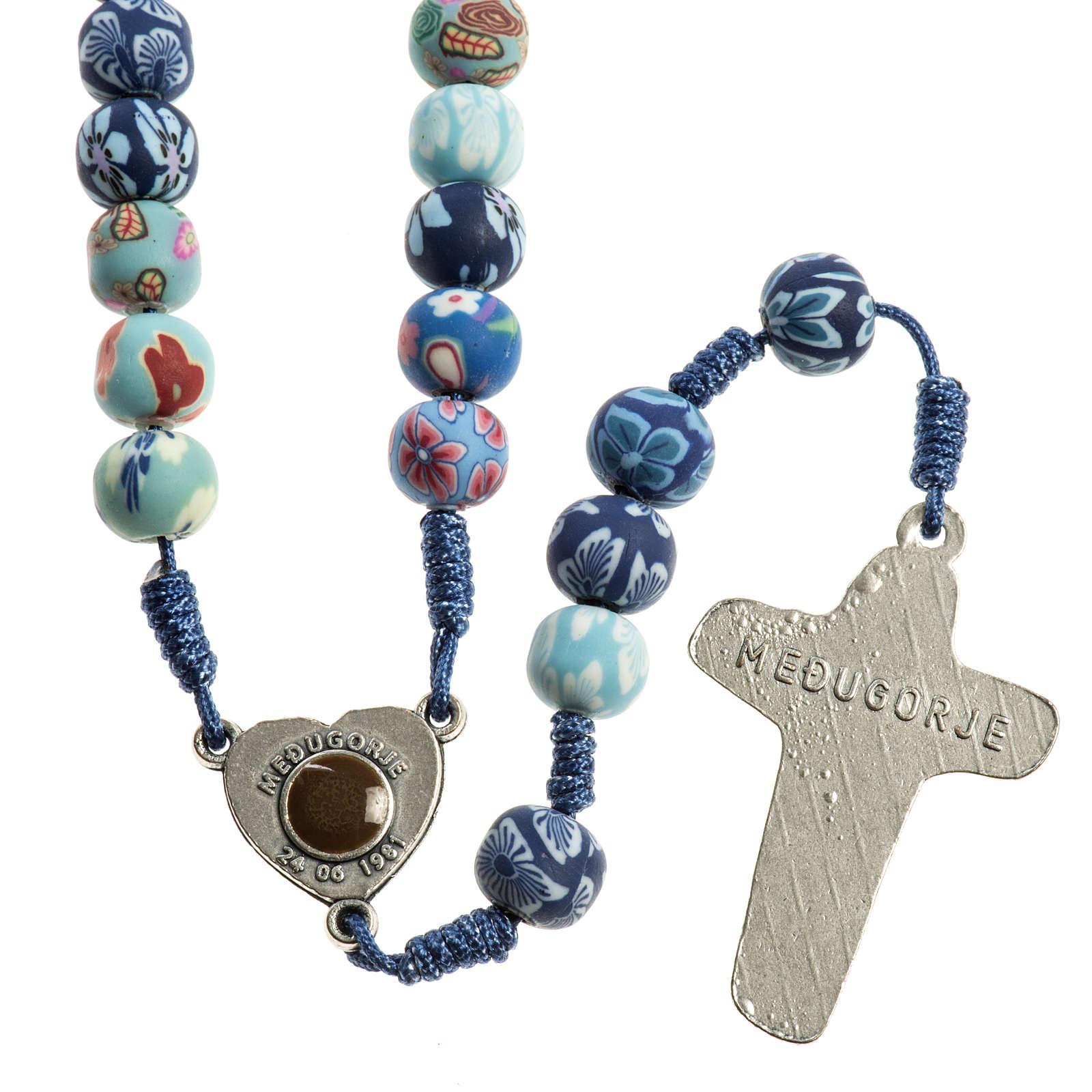 Medjugorje rosary in fimo, blue 4