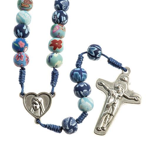 Medjugorje rosary in fimo, blue 1