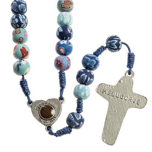 Medjugorje rosary in fimo, blue 2